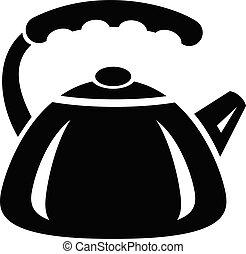 Metal teapot icon, simple style