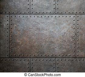 metal, textura, com, rebites, como, vapor, punk, fundo, ou,...