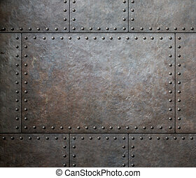 metal texture with rivets as steam punk background or...