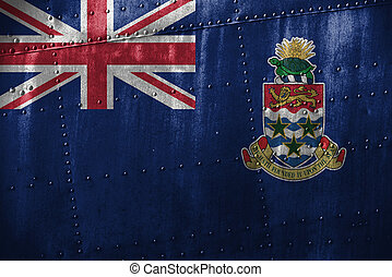 metal texutre or background with Cayman Islands flag