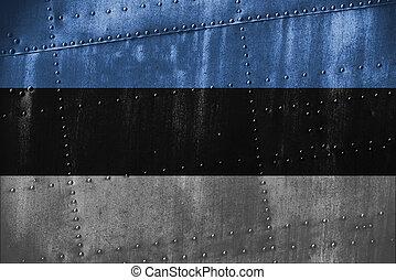 metal texutre or background with Estonia flag