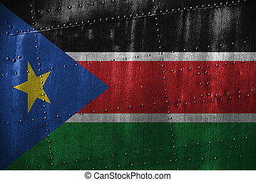 metal texutre or background with South Sudan flag - metal...