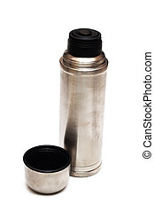 Metal thermos close up, isolate on a white background