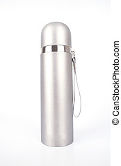 Metal thermos flask isolated on white background