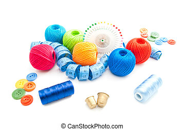 metal thimbles and other items for needlework