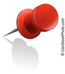 Metal thumb tack in red color illustration