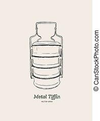 Metal tiffin thai food carrier. - Yellow metal Tiffin, thai ...