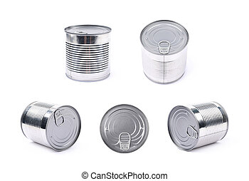 Metal tin can isolated - Metal tin food can isolated over...