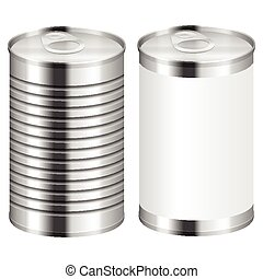 Metal tin can on a white background.