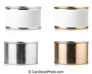 metal tin can on isolated white background.