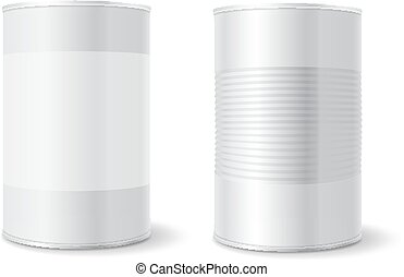 Metal tin can, Tincan Ribbed Canned food. Mock up. Product...