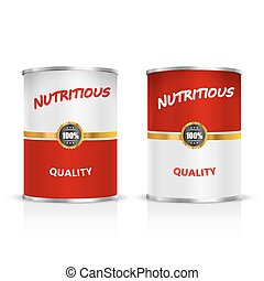 Metal tin set. - Metal can on a white background. Vector...