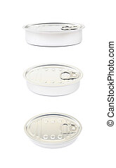 Metal tincan isolated over the white background , set of...