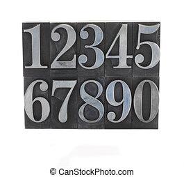 metal, tipo, números