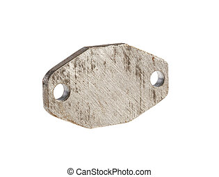 metal token, thick steel billet and two holes isolated on...