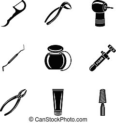 Metal tool icons set, simple style