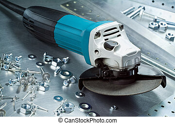Metal tools - Metal workshop. Electric grinder, cutter.