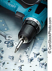 Metal tools - Metal workshop. Electric screwdriver, cordless...
