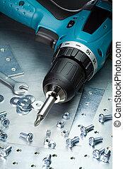 Metal tools - Metal workshop. Electric screwdriver, cordless...