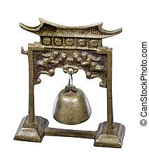 metal, tori, portão, sino