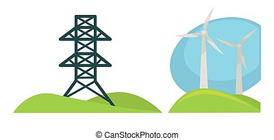 Metal tower for wires and wind generations on green field -...