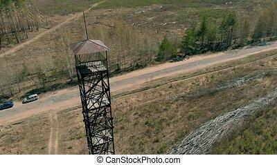 metal tower in the field, aerial shooting