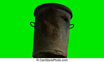 metal trash bin on green chromakey background