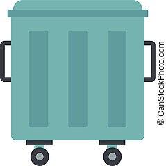 Metal trashcan icon, flat style