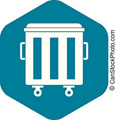 Metal trashcan icon, simple style