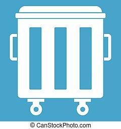 Metal trashcan icon white