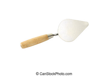 Metal trowel with wooden handle up side down on white background.