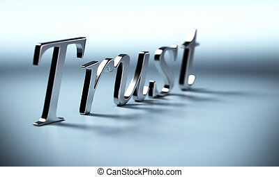 metal trust word 3d render with perspective and blur effet,...