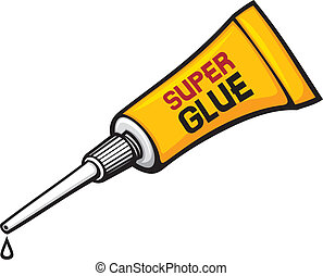 metal tube of super glue, vector tube of glue, tube with ...