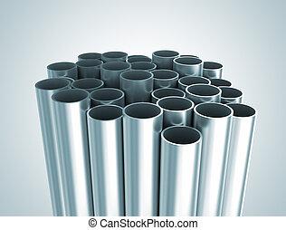 Metal tubes industrial background