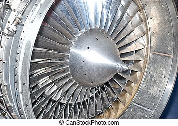 turbine  - Metal turbine in the airplane