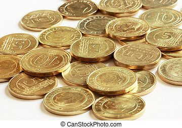metal turkish coins on white background