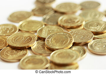 metal turkish coins on white background