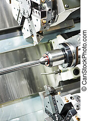 metal turning process on machine tool - shaft detail turning...