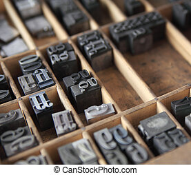 metal type in a case