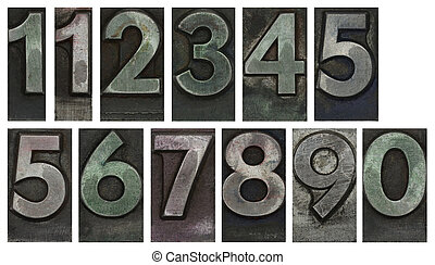 Metal type numbers isolated on white
