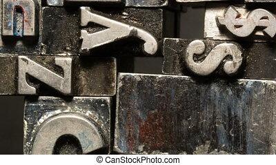 Metal Type Printing Press Typeset Obsolete Typography Text...