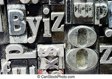 Metal Type Printing Press Typeset Obsolete Typography Text -...