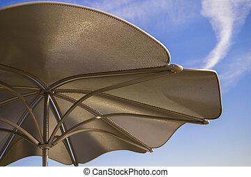 Metal Umbrella against Blue Sky - Metal Umbrella against...