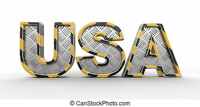 Metal USA text. Image with clipping path.