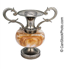 metal vase with marble middle