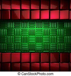 metal verde, experiência vermelha