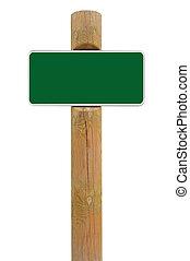 metal verde, tabla signo, signage, espacio de copia, plano de fondo, blanco
