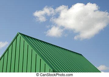 metal verde, telhado
