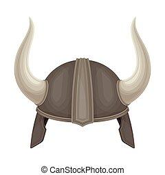 Metal Viking Helmet with Horns as Norway Attribute Vector Illustration