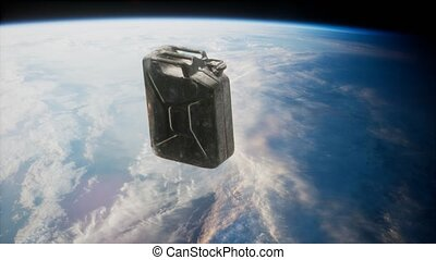 metal vintage and dirty jerrycan on Earth orbit